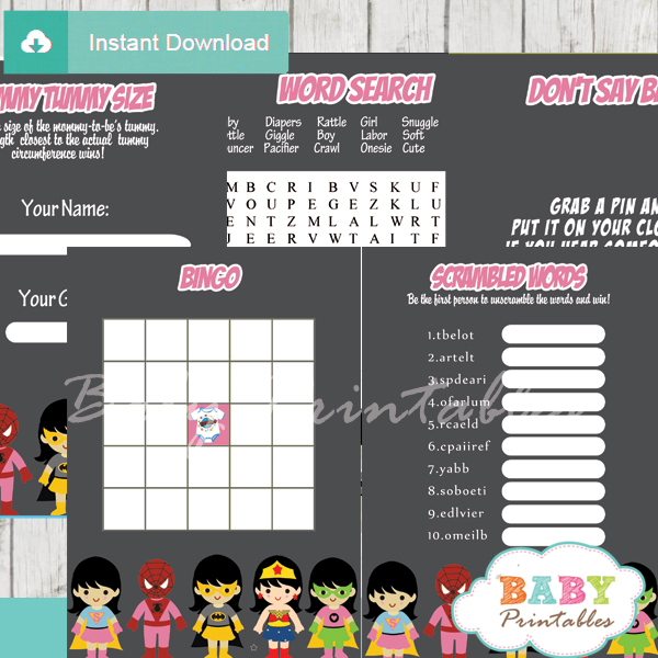 printable superhero girls baby shower fun games ideas