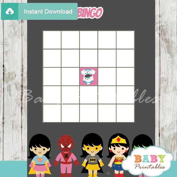 girl superhero printable baby shower bingo game cards