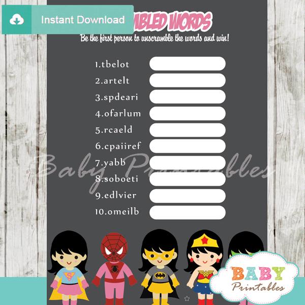 girl superhero printable baby shower unscramble words game