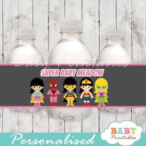 printable superhero girls personalized bottle wrappers diy