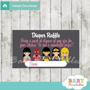printable superhero girl diaper raffle game cards baby shower