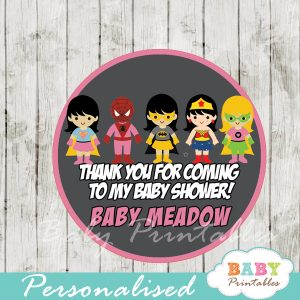 printable superhero girls personalized favor tags toppers
