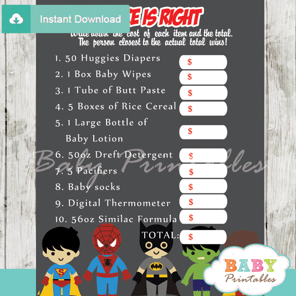 boy superhero Price is Right Baby Shower Games printable pdf