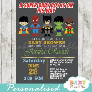 printable superhero baby boys shower invitation personalized
