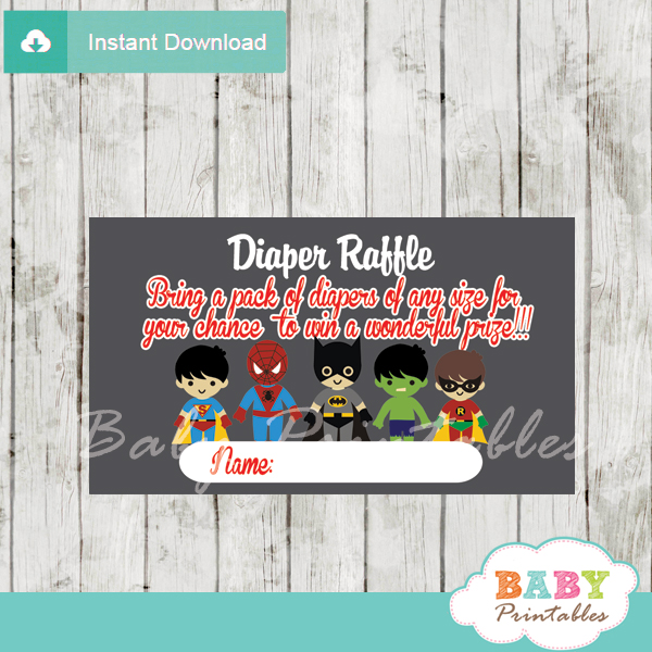 printable superhero boy diaper raffle game cards baby shower
