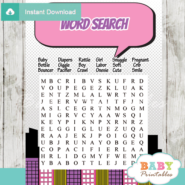 girl comic book baby shower word search game printable puzzles
