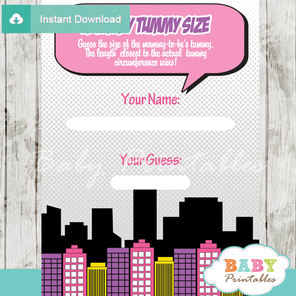 girl comic book printable measure the belly baby shower game