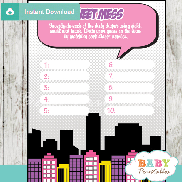printable girl comic book Baby Shower Game Guess the Sweet Mess Dirty Diaper