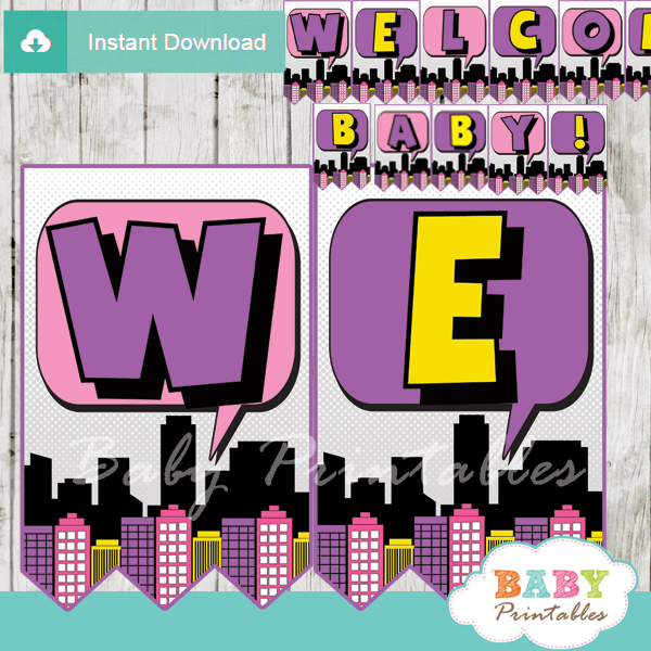 baby girl printable comic superhero welcome banner decoration personalized
