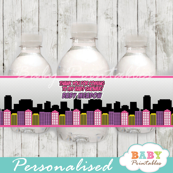 printable superhero comic book girls personalized bottle wrappers diy