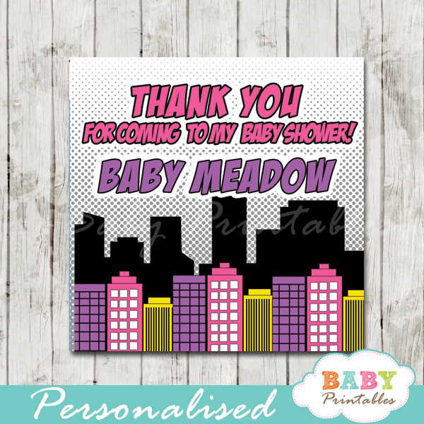 printable comic book superhero baby girls favor gift tags