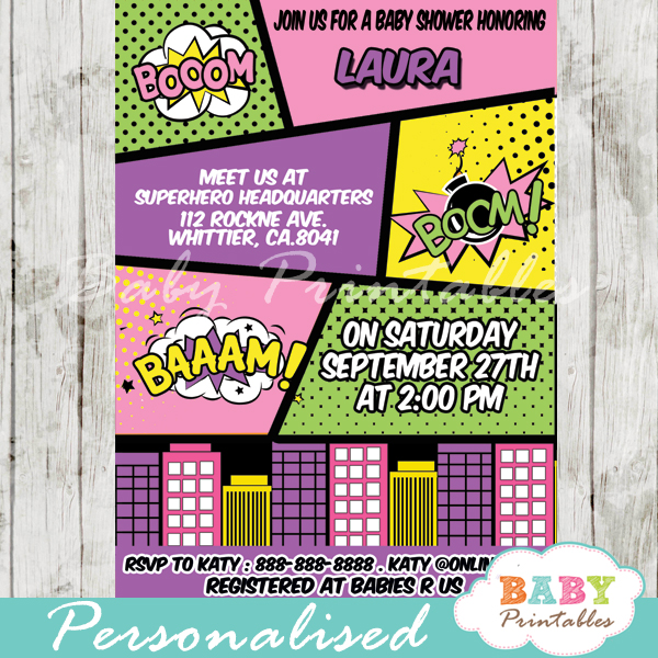 printable retro comic book girls baby shower invitation personalized