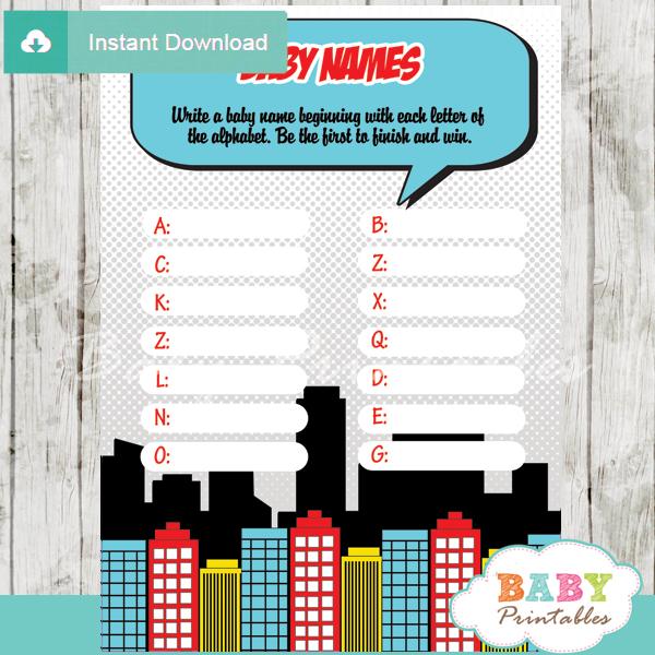 boys comic book printable Name Race Baby Shower Game cards