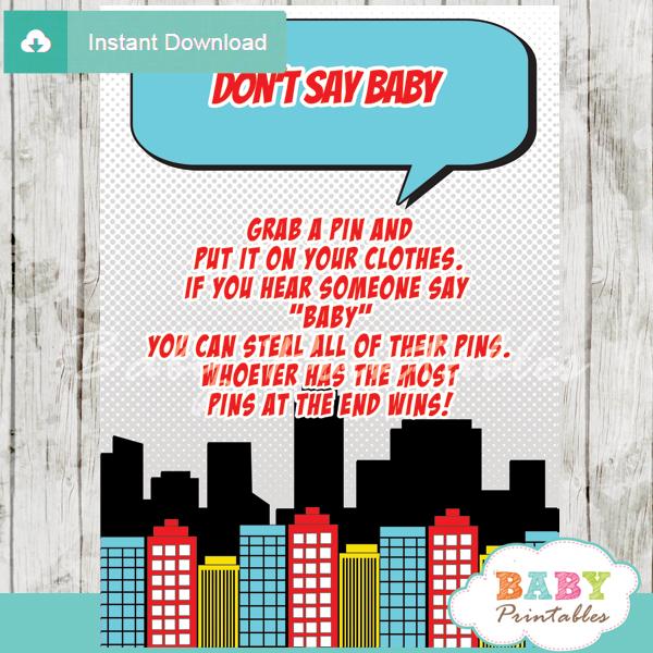 boy comic book superhero printable game Dont Say Baby pdf