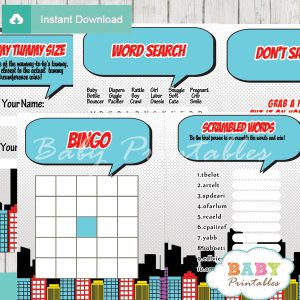 printable comic book boys baby shower fun games ideas