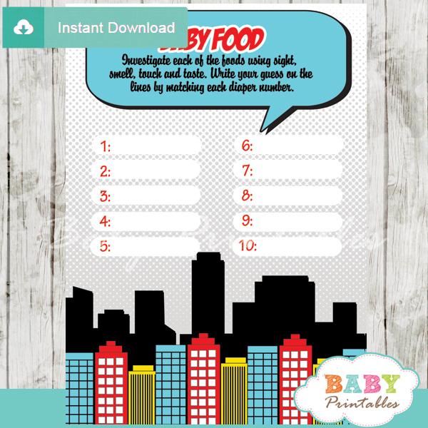 boys comic book printable baby shower games blind tasting baby food