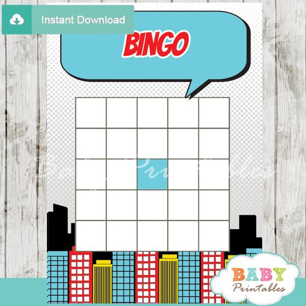 boys comic book printable baby shower bingo game cards