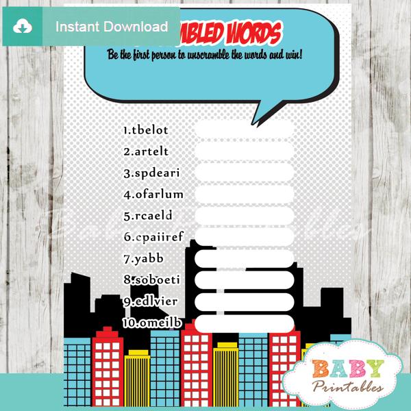 boy comic book printable baby shower unscramble words game