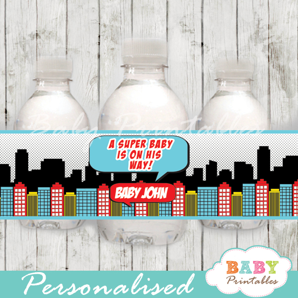 printable superhero comic book boys personalized bottle wrappers diy