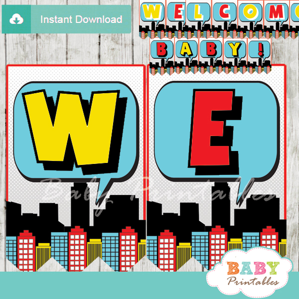 baby boy printable comic superhero welcome banner decoration personalized