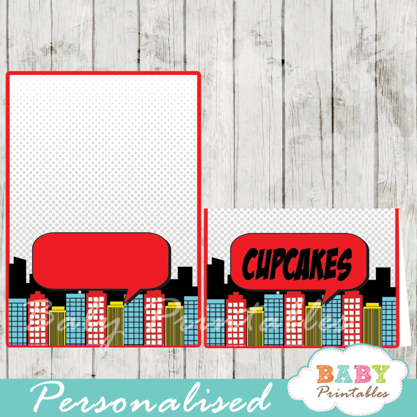 printable superhero comic book personalized food label cards