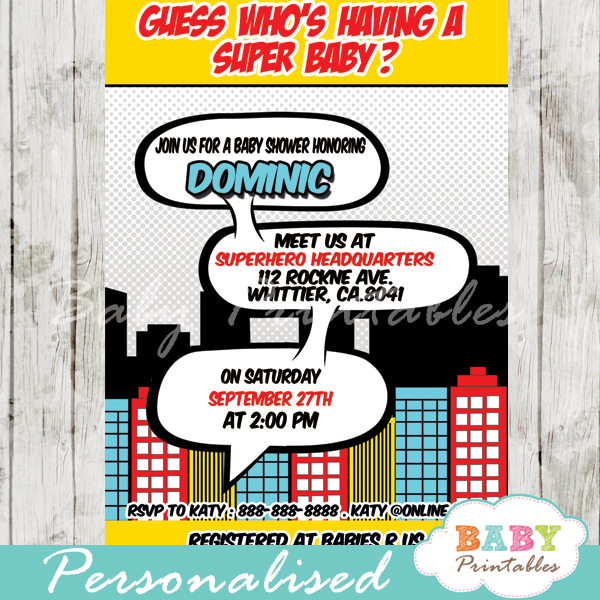 printable superhero comic book baby shower invitation personalized for boy
