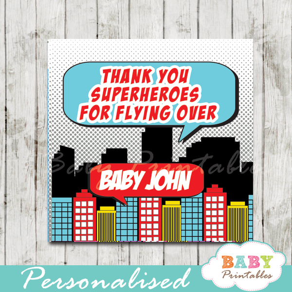 printable comic book superhero baby boy favor gift tags