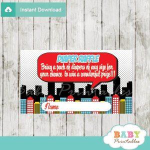 printable superhero boy comic book diaper raffle game cards baby shower