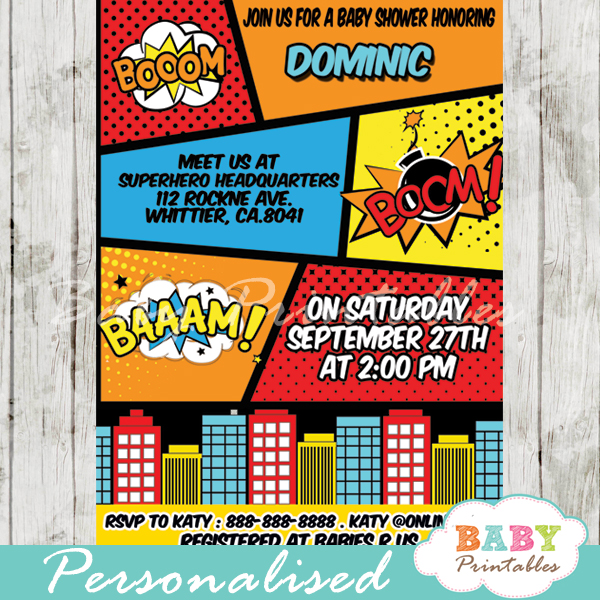 Retro comic book baby shower invitation boys d215 baby printables printable retro comic book boys baby shower invitation personalized filmwisefo