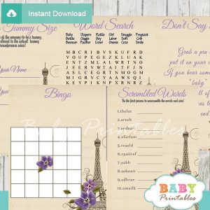 printable french paris baby shower fun games ideas