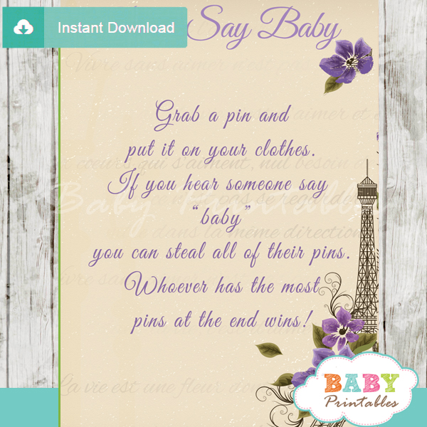 french paris printable game Dont Say Baby pdf