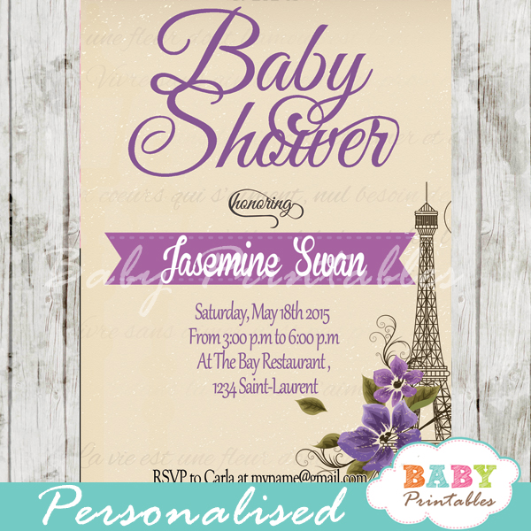 printable Paris Eiffel tower baby shower invitation personalized