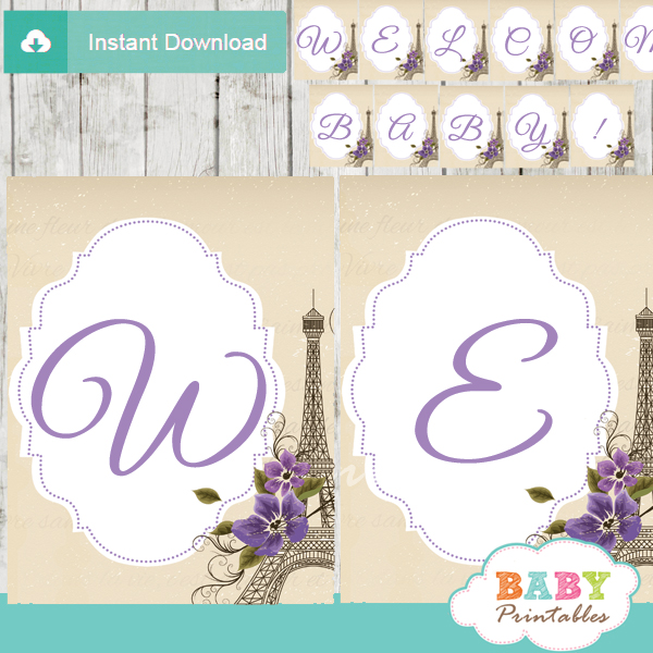 printable french violet floral paris eiffel tower welcome banner decoration personalized