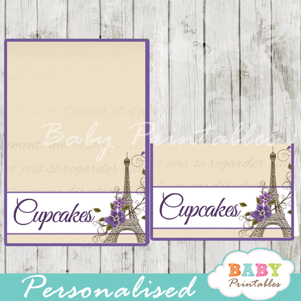 printable french paris eiffel tower personalized food label cards