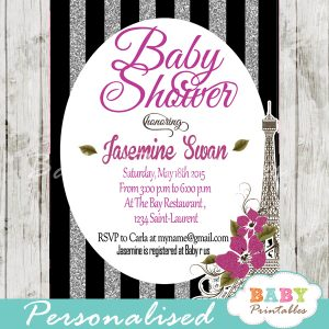 black silver glitter stripes printable Paris Eiffel tower baby shower invitation personalized