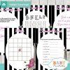 black white stripes printable french paris baby shower fun games ideas