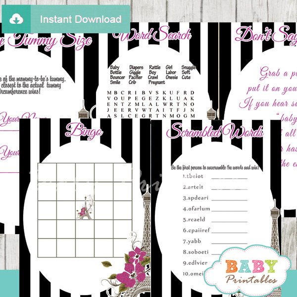 black white stripes printable french paris baby shower fun games ideas
