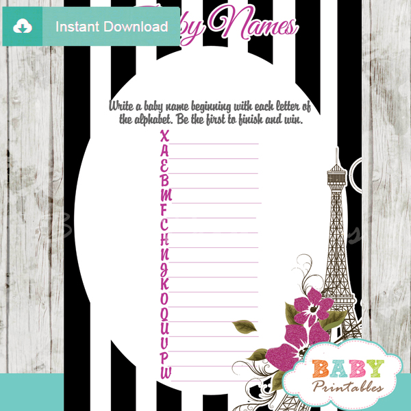 french paris eiffel tower printable Name Race Baby Shower Game cards