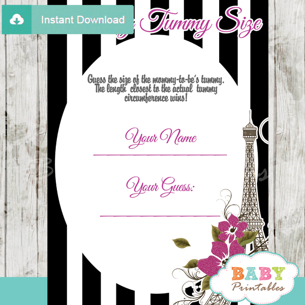 french paris printable measure the belly baby shower game