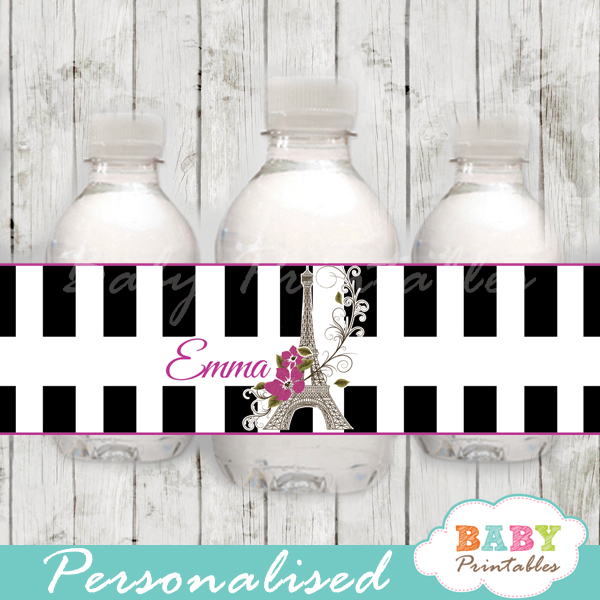 black white stripes printable french paris eiffel tower personalized bottle wrappers diy