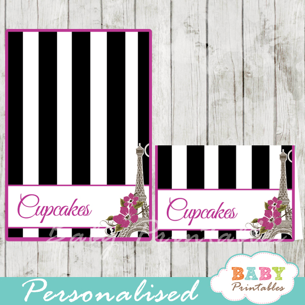 black white stripes printable french paris eiffel tower personalized food label cards