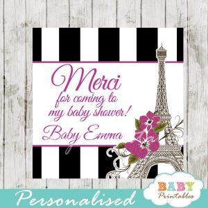 black white stripes printable paris eiffel tower purple floral vintage favor gift tags