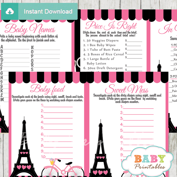 printable eiffel tower pink paris shower games package