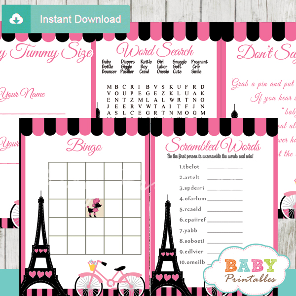 printable french bicycle pink paris baby shower fun games ideas