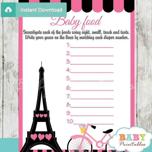 pink paris eiffel tower printable baby shower games blind tasting baby food
