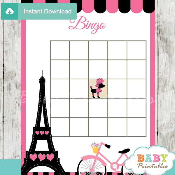 french paris printable baby shower bingo game cards