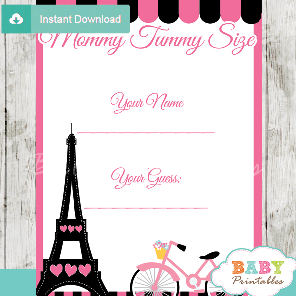 french bicycle paris printable measure the belly baby shower game