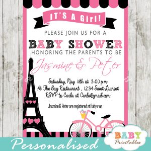 printable Pink Paris Eiffel tower baby shower invitation personalized