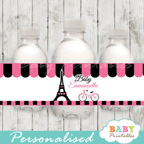 printable french bicyle pink paris eiffel tower personalized bottle wrappers diy