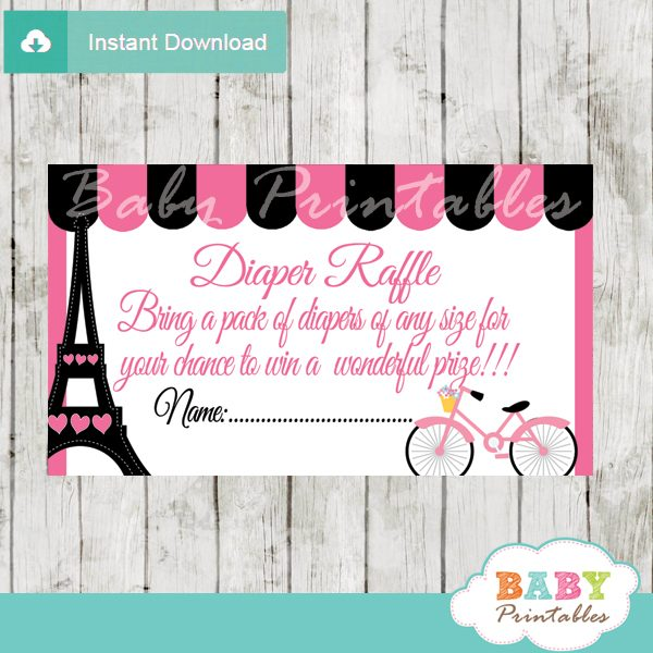 photo about Diaper Raffle Printable identified as Purple Paris Eiffel Tower Diaper Raffle Tickets - D222